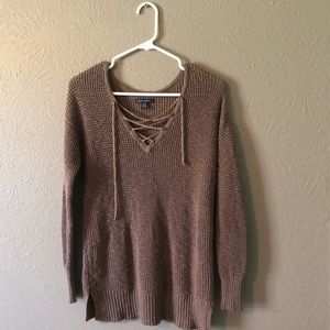 American Eagle Brown Textured Knit Lace Up Sweater